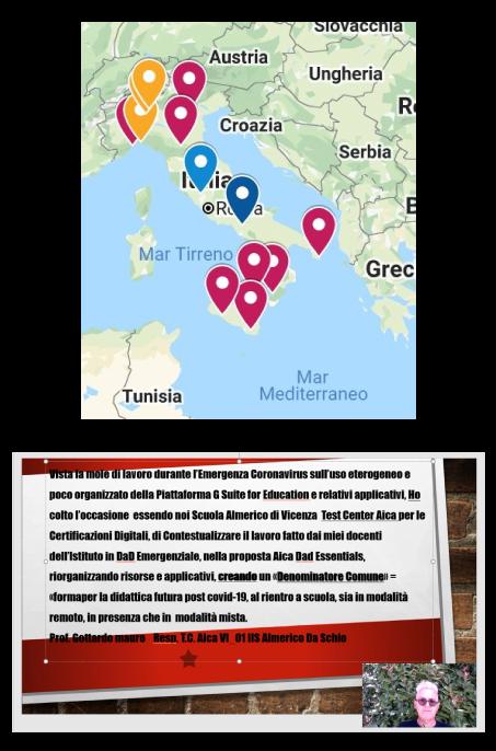 Mappa di indicazioni geografiche dei partecipanti e testimonianza Prof. Gottardo