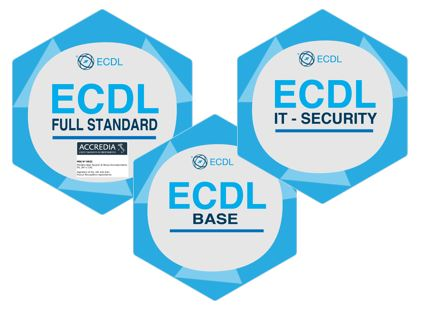 immagine dei tre badge ECDL Base - ECDL Full standard - ECDL IT Security