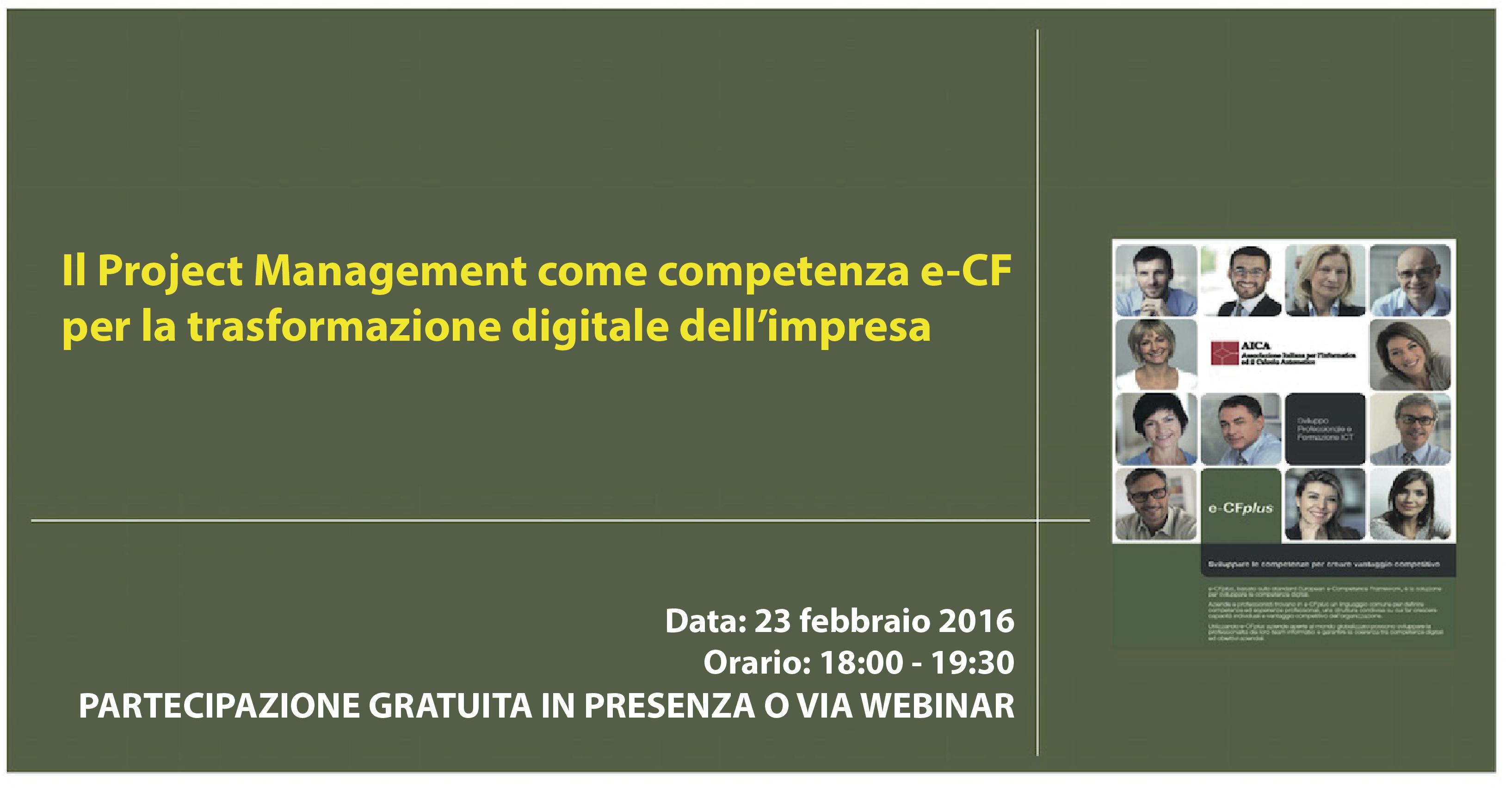 Ciclo delle Conversazioni - il Project Management come competenza e-CF per la trasformazione digitale dell'impresa